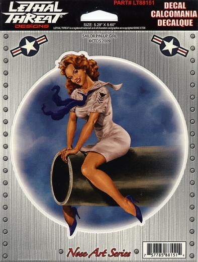 Vintage Retro Sexy Sailor Girl Gun Pin Up Girl 3 Sticker Decal Set